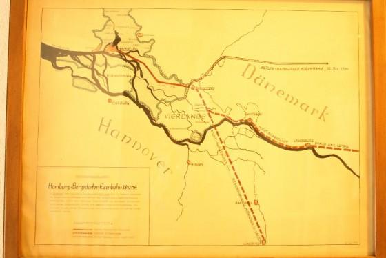 Hamburg Bergedorfer Eisenbahn 1842 Karte
