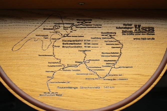 Harzer Schmalspurbahn Brocken Streckenplan