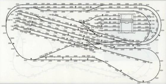 Gleisanlage: Gleisbauplan mit Schiebebühne und Modelleisenbahn Rangierbahnhof