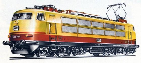 Märklin 3054 BR 103 H0 Katalogbild Zeichnung