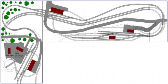 Gleisplan 2: Modellbahnanlage in L-Form