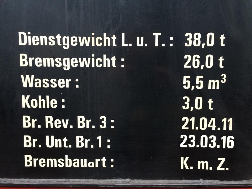 Datenschild der Dampflok 20