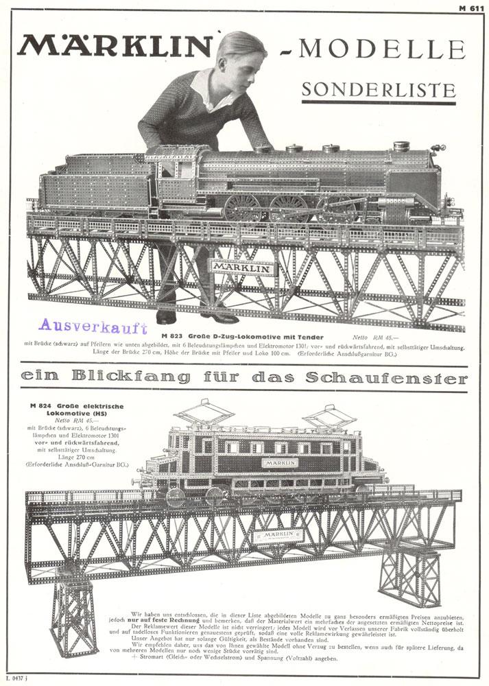 Märklin M 823 Große D-Zug-Lokomotive mit Tender & Märklin 824 Große elektrische Lokomotive (HS)