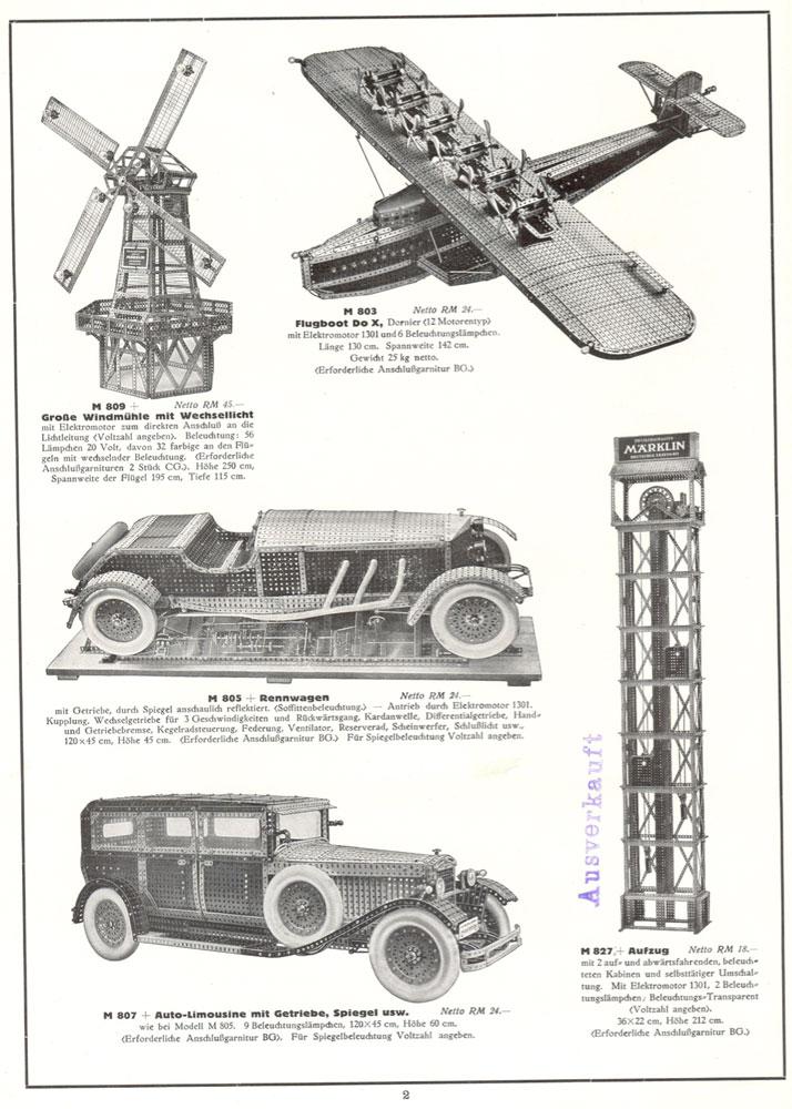 Märklin M 809 Windmühle & Märklin M 803 Flugboot & Märklin M 805 Rennwagen & Märklin M 807 Auto-Limousine & Märklin M 827 Aufzug