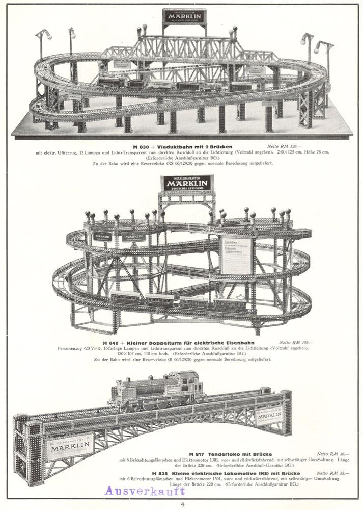 Märklin M 830 Viaduktbahn & Märklin M 840 Doppelturm für elektrische Eisenbahn & Märklin M 817 / M 825 Lokomotive mit Brücke