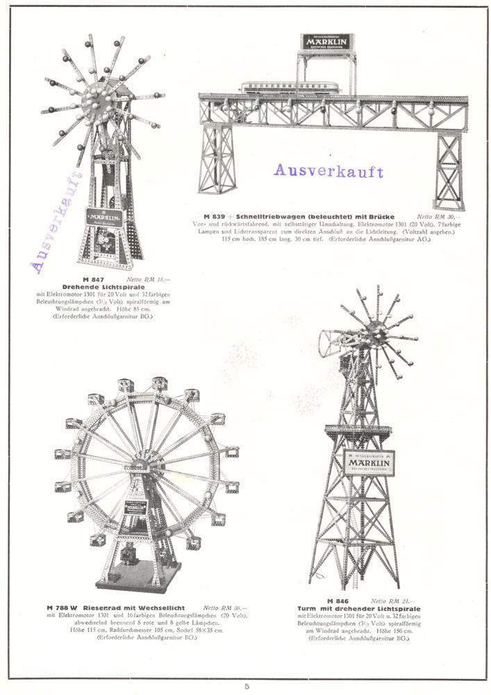 Märklin M 847 Drehende Lichtspirale & Märklin M 839 Schnelltriebwagen mit Brücke & Märklin M 788 Riesenrad & Märklin M 846 Turm mit drehender Lichtspirale