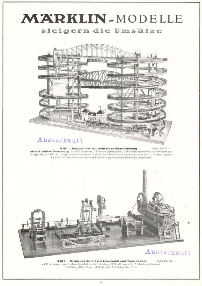 Märklin M 811 Doppelturm mit dreifacher Überbrückung& Märklin 821 Tischlerwerkstatt