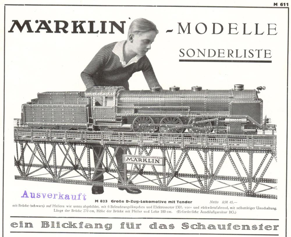 Märklin M 611 Modelle-Sonderliste 1937